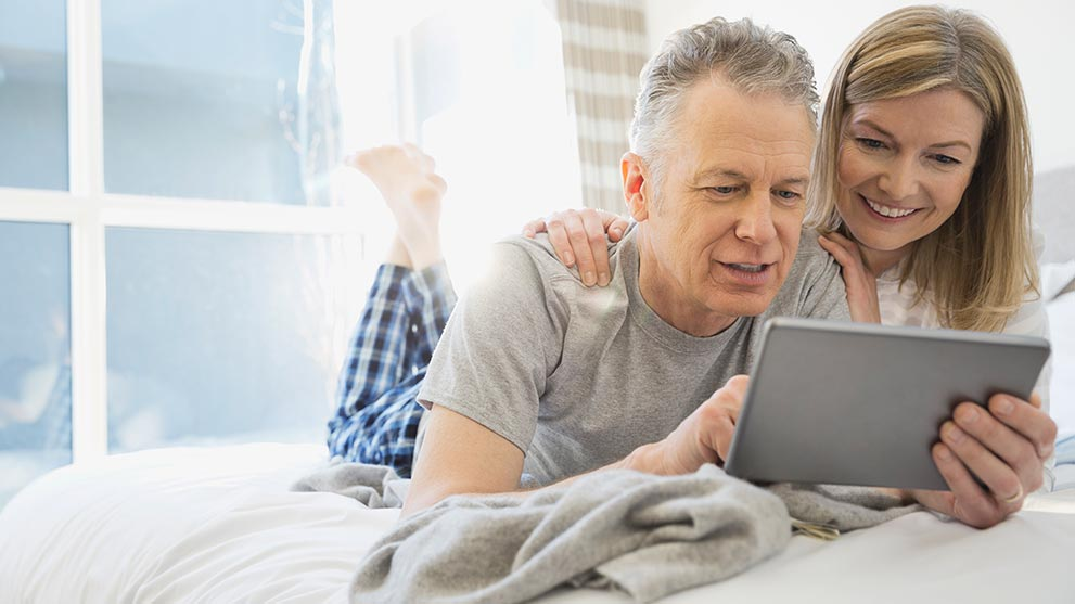 a retired couple researching their mortgage options